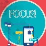 Schreibensanmerkung, die Fokus zeigt Geschäftsfoto Präsentationskonzentrationspunkt-Mittetätigkeit Anziehungskraft-Personal-Funkt vektor abbildung