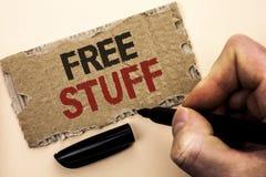 Schreibensanmerkung, die freies Material zeigt Geschäftsfotopräsentation ergänzend frei von den Kosten Chargeless gratis Costless Lizenzfreies Stockfoto