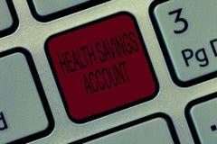 Schreibensanmerkung, die Gesundheits-Sparkonto zeigt Präsentationsbenutzer des Geschäftsfotos mit hoher herleitbarer Krankenversi stockfotos