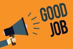 Schreibensanmerkung, die guten Job zeigt Die Geschäftsfotopräsentation regen jemand für sein Arbeitsgewinnen oder -erfolg der Bem lizenzfreies stockfoto