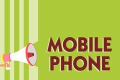 Schreibensanmerkung, die Handy zeigt Das Geschäftsfoto, das a-Handgerät zur Schau stellt, verwendete zu Send-Receiveanrufe und -m lizenzfreie abbildung