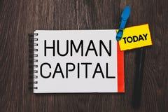 Schreibensanmerkung, die Humankapital zeigt Geschäftsfoto, welches nicht immaterielle Kollektivdie betriebsmittel-Kompetenz-Haupt lizenzfreies stockbild