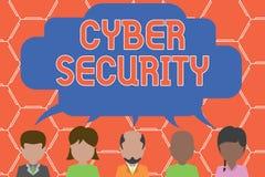 Schreibensanmerkung, die Internetsicherheit zeigt Die Gesch?ftsfotopr?sentation sch?tzen ein Computersystem gegen unberechtigten  vektor abbildung