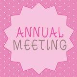Schreibensanmerkung, die Jahresversammlung zeigt Das Geschäftsfoto, das jährliche Versammlung einer Organisation zur Schau stellt stock abbildung