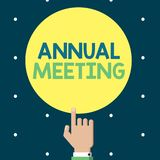 Schreibensanmerkung, die Jahresversammlung zeigt Das Geschäftsfoto, das jährliche Versammlung einer Organisation zur Schau stellt vektor abbildung