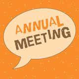 Schreibensanmerkung, die Jahresversammlung zeigt Das Geschäftsfoto, das jährliche Versammlung einer Organisation zur Schau stellt lizenzfreie abbildung