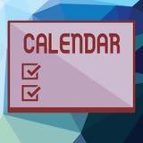 Schreibensanmerkung, die Kalender zeigt Geschäftsfoto Präsentationsseiten, die Tageswochenmonate bestimmter Jahr Anzeige zeigen lizenzfreie abbildung