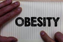 Schreibensanmerkung, die Korpulenz zeigt Geschäftsfoto sammelte Präsentationsbeschwerdenen-Überfluss des Körperfetts Gesundheitsp Lizenzfreie Stockfotos