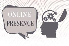 Schreibensanmerkung, die on-line-Anwesenheit zeigt Präsentationsbestehen des Geschäftsfotos von jemand, das über ein on-line gefu lizenzfreie abbildung