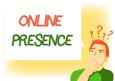 Schreibensanmerkung, die on-line-Anwesenheit zeigt Präsentationsbestehen des Geschäftsfotos von jemand, das über ein on-line gefu vektor abbildung