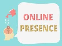 Schreibensanmerkung, die on-line-Anwesenheit zeigt Präsentationsbestehen des Geschäftsfotos von jemand, das über eine on-line-Suc vektor abbildung
