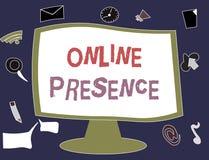 Schreibensanmerkung, die on-line-Anwesenheit zeigt Präsentationsbestehen des Geschäftsfotos von jemand, das über eine on-line-Suc lizenzfreie abbildung