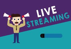 Schreibensanmerkung, die Live Streaming zeigt Die Geschäftsfotopräsentation übertragen Live - Video-Abdeckung eines Ereignisses ü vektor abbildung
