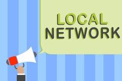 Schreibensanmerkung, die lokales Netzwerk (LAN) zeigt Geschäftsfoto Präsentationsschalter-Verbindungs-Mannholding Intranet-LAN Ra stockfotografie