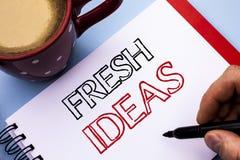 Schreibensanmerkung, die neue Ideen zeigt Geschäftsfoto, welches kreative Visions-die denkende Fantasie-Konzept-Strategie an gesc Lizenzfreie Stockfotografie