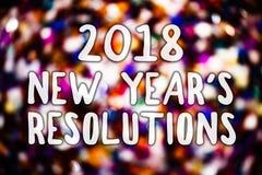 Schreibensanmerkung, die 2018 neues Jahr \ 's-Beschlüsse zeigt Geschäftsfoto Präsentationsliste von den Zielen oder von Zielen, z Lizenzfreies Stockfoto