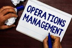 Schreibensanmerkung, die Operations-Management zeigt Die Geschäftsfotopräsentation stellen Input sicher, um die Produktion auszug stockfotos
