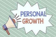 Schreibensanmerkung, die persönliches Wachstum zeigt Die Geschäftsfotopräsentation verbessern entwickeln Ihre Fähigkeiten, die Qu stock abbildung