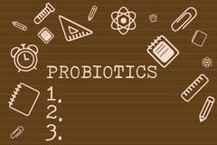 Schreibensanmerkung, die Probiotics zeigt Geschäftsfoto, das Livebakterien Mikroorganismus bewirtet in den Körper für sein zur Sc vektor abbildung