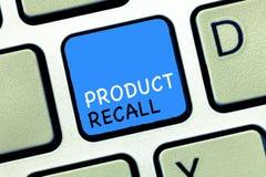 Schreibensanmerkung, die Rückruf eines fehlerhaften Produktes zeigt Geschäftsfoto Präsentationsantrag durch eine Firma, das Produ lizenzfreie stockfotografie