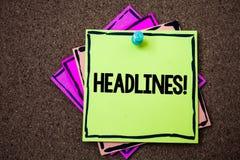 Schreibensanmerkung, die Schlagzeilen Motivanruf zeigt Geschäftsfoto Präsentationsüberschrift an der Spitze eines Artikels in Zei lizenzfreies stockbild
