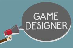 Schreibensanmerkung, die Spiel-Designer zeigt Geschäftsfoto Präsentationsgraphik-Manngriff der aktivist-Pixel-Skiptprogrammierer- vektor abbildung