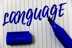 Schreibensanmerkung, die Sprache zeigt Geschäftsfoto Präsentationsmethode des menschliche Kommunikation gesprochenen schriftliche lizenzfreie stockbilder