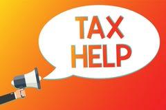Schreibensanmerkung, die Steuer-Hilfe zeigt Geschäftsfoto Präsentationsunterstützung vom obligatorischen Beitrag zu den Staatsein lizenzfreie abbildung