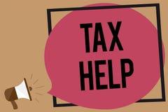 Schreibensanmerkung, die Steuer-Hilfe zeigt Geschäftsfoto Präsentationsunterstützung vom obligatorischen Beitrag zum Zustand stock abbildung