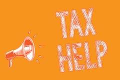 Schreibensanmerkung, die Steuer-Hilfe zeigt Geschäftsfoto Präsentationsunterstützung vom obligatorischen Beitrag zum Zustand lizenzfreie abbildung