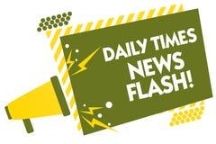 Schreibensanmerkung, die Daily Times-Blitznachrichten zeigt Das Geschäftsfoto, das schnelle Antwort zu den Aktionen zur Schau ste Lizenzfreies Stockbild