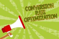 Schreibensanmerkung, die Umwandlung Rate Optimization zeigt Präsentationssystem des Geschäftsfotos für zunehmenden Prozentsatz de Lizenzfreie Stockfotografie