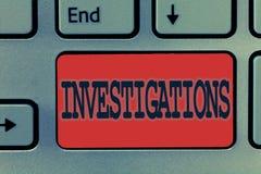 Schreibensanmerkung, die Untersuchungen zeigt Geschäftsfoto, welches die formale Aktion oder die systematische Prüfung über etwas stockfotografie