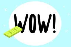 Schreibensanmerkung, die wow zeigt Das Geschäftsfoto, das sensationellen Erfolg zur Schau stellt, beeindrucken und regen jemand E lizenzfreie abbildung