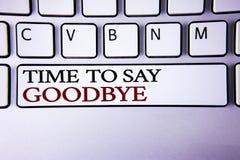 Schreibensanmerkung, die Zeit zeigt Abschied zu nehmen Geschäftsfoto wünscht der Präsentationstrennungs-Moment, der Auseinanderbr Lizenzfreie Stockfotos