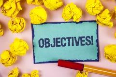 Schreibensanmerkung, die Zielen Motivanruf zeigt Geschäftsfoto Präsentationsziele planten erzielt zu werden wünschten die geschri stockfotografie
