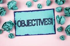 Schreibensanmerkung, die Zielen Motivanruf zeigt Geschäftsfoto Präsentationsziele planten erzielt zu werden wünschten die geschri stockbilder