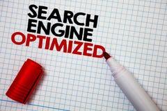 Schreibensanmerkung, welche die Suchmaschine optimiert zeigt Geschäftsfoto, das on-line-Sicht für Website oder Blog Diagrammbrei  Stockfotografie