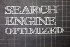 Schreibensanmerkung, welche die Suchmaschine optimiert zeigt Geschäftsfoto, das on-line-Sicht für Website oder Blog Diagrammbrei  Stockfoto