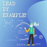 Schreibensanmerkungs-Vertretung Führung durch Beispiel Geschäftsfoto Präsentationsführungs-Management-Mentor-Organisation stock abbildung
