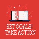 Schreibensanmerkungs-Vertretung gesetzte Ziele ergreifen Maßnahmen Geschäftsfoto Präsentationstat auf einem Besonderen und offenb lizenzfreie abbildung