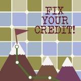 Schreibensanmerkungs-Vertretung Verlegenheit Ihr Kredit Verschlechterte Präsentationsschlechte Kreditwürdigkeit der festlegung de lizenzfreie abbildung