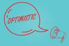 Schreibensanmerkungsdarstellen optimistisch Geschäftsfotopräsentation hoffnungsvoll und überzeugt hinsichtlich des zukünftigen po stock abbildung