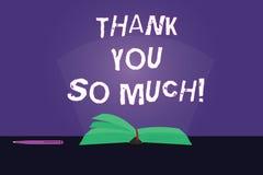 Schreibensanmerkungsvertretung danken Ihnen soviel Geschäftsfoto Präsentationsausdruck von Dankbarkeits-Grüßen der Anerkennung lizenzfreie abbildung