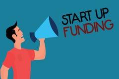 Schreibensanmerkungsvertretung fangen, oben an zu finanzieren Die Geschäftsfotopräsentation fangen an, Geld in der neu erstellten stock abbildung