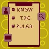 Schreibensanmerkungsvertretung kennen die Regeln Die Geschäftsfotopräsentation verstehen, dass Bedingungen Rechtsberatung von erh lizenzfreie abbildung