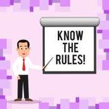 Schreibensanmerkungsvertretung kennen die Regeln Die Geschäftsfotopräsentation verstehen, dass Bedingungen Rechtsberatung von erh stock abbildung