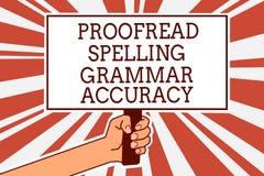 Schreibensanmerkungsvertretung Korrektur gelesen, Grammatik-Genauigkeit buchstabierend Das Geschäftsfoto, das grammatisch korrekt vektor abbildung