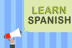 Schreibensanmerkungsvertretung lernen Spanisch Geschäftsfoto Präsentationsübersetzungs-Sprache in der Spanien-Vokabular-Dialekt-S lizenzfreie stockfotografie