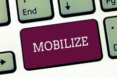 Schreibensanmerkungsvertretung mobilisieren Die Geschäftsfotopräsentation machen etwas beweglich, oder fähig zur Bewegung sich vo stockfoto